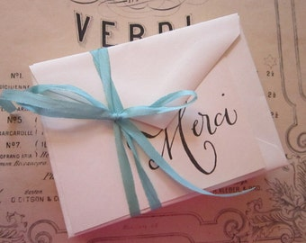 10 petite MERCI cards with envelopes - aqua ribbon, flat cards, hand stamped, vintage envelopes