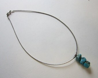 vintage turquoise and silver necklace - liquid silver, turquoise nuggets - 15 inches - choker, sterling silver beads