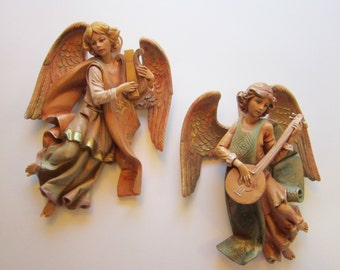 2 vintage Fontanini angels - 9 inches - Depose Italy spider mark - 367 and 368