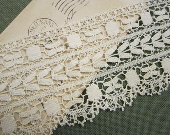 vintage BOBBIN lace trim by the yard - 2.5 inches wide