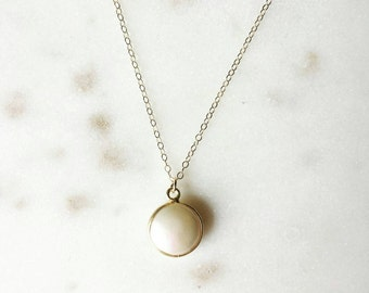 Pearl drop necklace on gold filled chain -modern pearl necklace