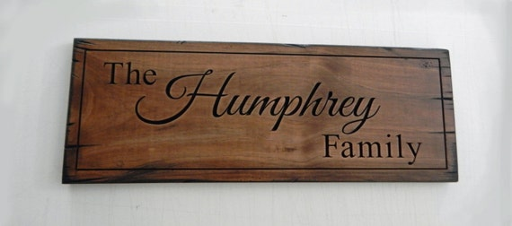 Personalized Sign rustic wood sign Carved Personalized Family Name Sign