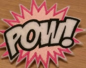 POW super hero embroidered hair barrette