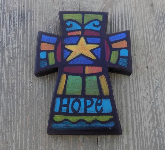 Hand Painted Hope Wall Cross