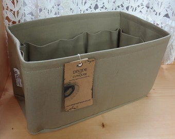 Purse insert ORGANIZER Shaper / 11x 6 rectangular / Sturdy / KHAKI / Fits LV Speedy 30 / With stiff wipe-clean bottom / Ready to ship