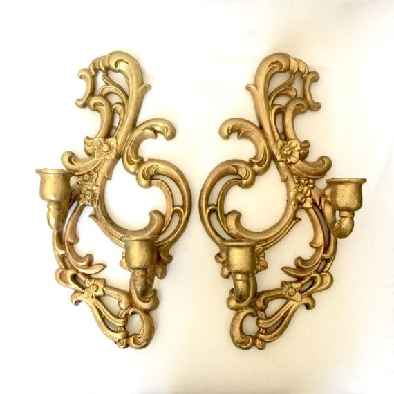 Gilded Gold Metal Wall Sconces / Ornate scrolled floral Gold