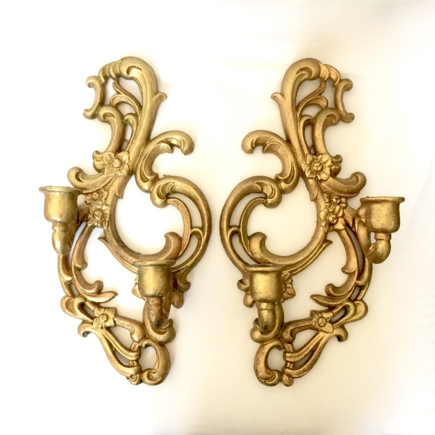 Floral Metal Wall Sconces : Gilded Gold Metal Wall Sconces / Ornate scrolled floral Gold