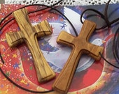 RESERVED Custom Listing for A.W. -  Two Traditional Wood Cross Pendants with Four Interchangable Cords