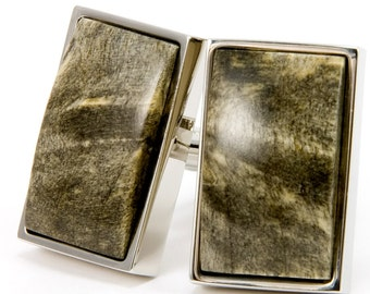 Buckeye Burl Silver Cufflinks | One of a Kind Cufflinks | Unique Gift Idea for Best Man, Groom, Groomsmen, Father Of The Bride, Fathers Day