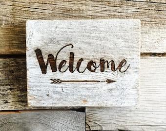 Rustic barnwood welcome sign