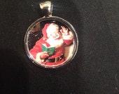 Santa Claus Image Pendant Necklace 9- FREE SHIPPING-
