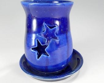 Ceramic candleholder, stoneware pottery candle burner, candle lantern,  moon and stars home decor, cobalt blue moon candle holder