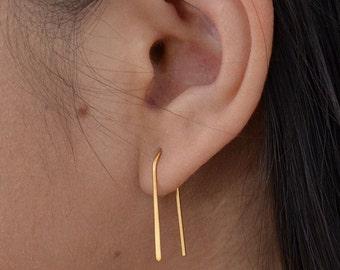 Satin 24K Gold Plated Arc Earrings -  Earwires, Hooks, modern minimalist