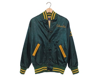 "Vintage Don Selbie ""Charlie"" REGIONAL #53 Green & Yellow Satin Jacket Made in USA - Medium (OS-jkt-4)"