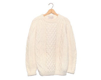 Vintage The Look O' The Irish Cable Knit Buttercream Aran Wool Fisherman Sweater - XL