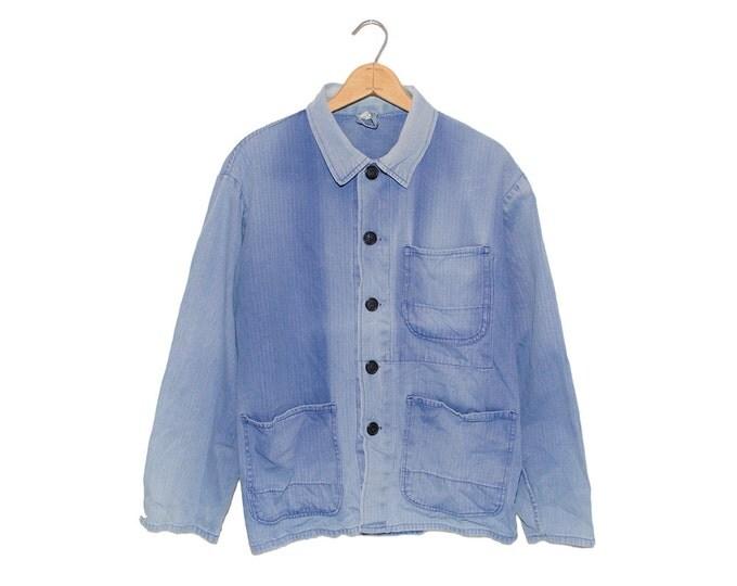 Vintage European Weathered & Faded Light Blue Herringbone Cotton Button Up  Chore Coat - Large
