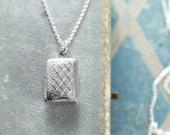 Tiny Sterling Silver Locket Necklace, Double Side Engraved Book Shaped Photo Pendant - Quilted and Quaint