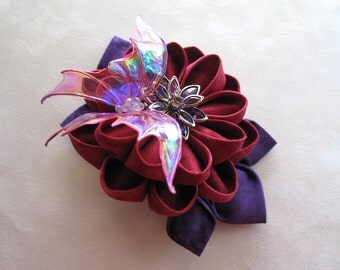 On Wings of Sunset Kanzashi Flower Butterfly Hair Clip