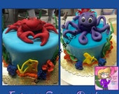 Fondant octopus and crab ocean cake toppers