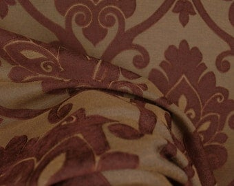 Vichy Chocolate Chenille Large Damask Fabric