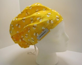 Euro style nurse scrub hat - Busy Bee fabric