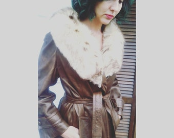 Beautiful 1960s 1970s Hippie BOHO Gypsy Dan Di Modes brown Leather Fur Jacket Coat