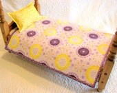 DOLL QUILT and PILLOW-Doll Blanket-Doll Bedspread, Pillow, American Girl Doll, Sasha, Gotz, Madame Alexander, Purple Lavender Yellow