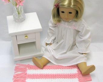 American Girl Crocheted Doll Rug Sasha Doll Throw Rug Kidz n Cats Gotz Madame Alexander Pink and White
