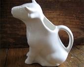 Vintage Pitcher White Ceramic Cow Figural Shabby Milk Creamer Farm Country Decor