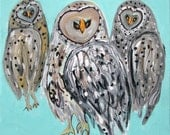Three Owls - Shipping Included in Price Charming Small Owl Painting on Stretched Canvas