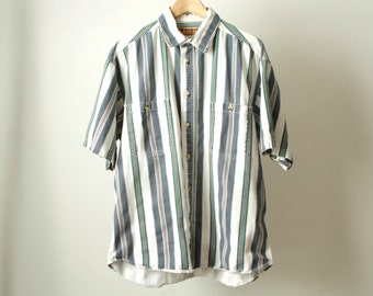 GRUNGE vintage short sleeve COLOR block oxford 90s COTTON striped  button up shirt men's Woolrich oxford shirt top