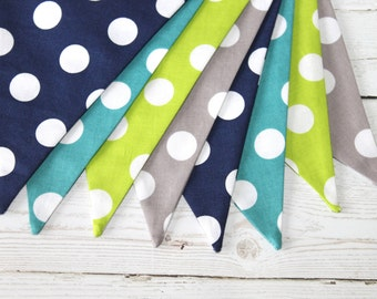 Polka Dot - Fabric Bunting - Turquoise - Navy - Lime Green - Gray
