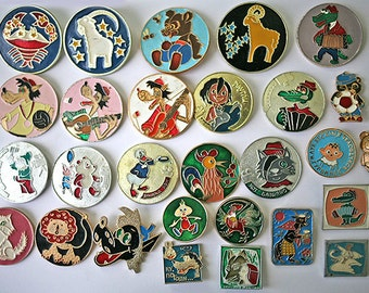 28Soviet Vintage Badge Badges Pins Set of 28 Kids Children Cartoon Characters from Russia USSR Soviet Union