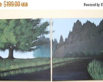 """landscape tree of life wall landscape canvas art """"River Side"""" canvas wall acrylic original modern paintings on canvas 40 x 16 inches"""