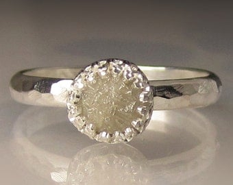 Raw Diamond Engagement Set, Raw Diamond Engagement Ring, Hammered Rough Diamond Ring