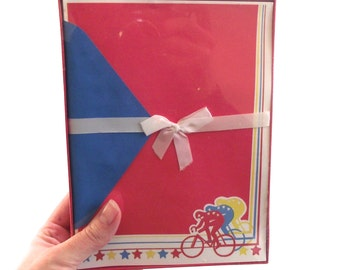 Bicycle Stationery Set, Vintage New Old Stock Bike Racing Writing Paper in Primary Colors (C5)