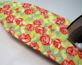 Ironing Board Cover TABLE TOP - apricot roses on lovely green Amy Butler