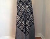 VALENTINES DAY SALE vintage 70s plaid maxi skirt • black white tartan •  boho hippie winter • size xsmall Gretchen