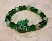 F.R.O.G. Fully Rely on God Green Frog Lampwork Green Millefiori Beaded Elastic Bracelet