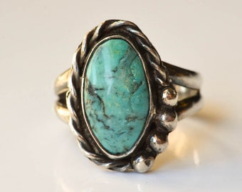 Turquoise and Sterling Ring Size 7.5 Navajo Ring