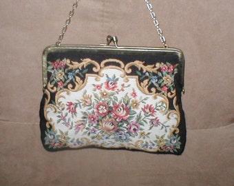 Vintage WALBORG  Floral Tapestry Evening Purse