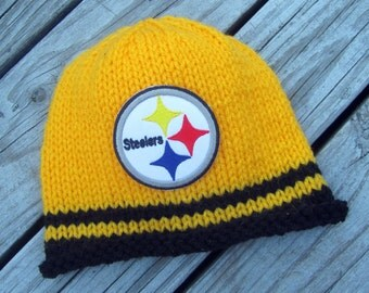 PITTSBURGH STEELERS Baby Hat, Knit Baby Hat, Steelers Hat, Pittsburgh Baby Hat, Hand Knitted Baby Hat, Football Hat, Knitted Baby Hat