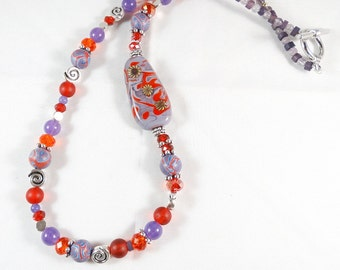 Red and Purple Necklace with Lampwork Focal on Side