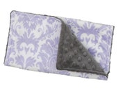 Burp Cloth Lavender Damask Double Minky, Baby Shower, Burp Cloths Newborn,  Feeding,  Nursing, Essentials, New Mom Gift, Shower Gift