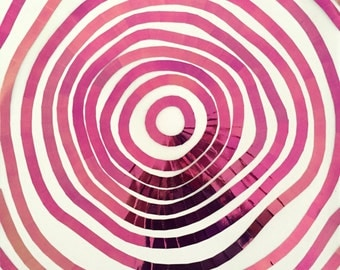 Iridescent Tree Rings Pattern Drawing / Collage in Vinyl Tape / Hot Pink Green Aqua
