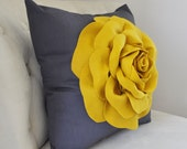Mustard Yellow Rose Pillow - French Country - Mustard Yellow Decor - Modern Decor  - Mustard and Charcoal Modern Home Decor Honey Gold