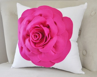 Throw Pillow, Rose Pillow, Home Decor, Decorative Pillow Cover, Hot Pink, Dorm Pillow Cover, Hot Pink Rose White Pillow girls Room Pillows