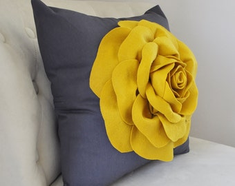 Mustard Yellow Rose Pillow - French Country - Mustard Yellow Decor - Modern Decor  - Mustard and Charcoal Modern Home Decor Designer Pillows