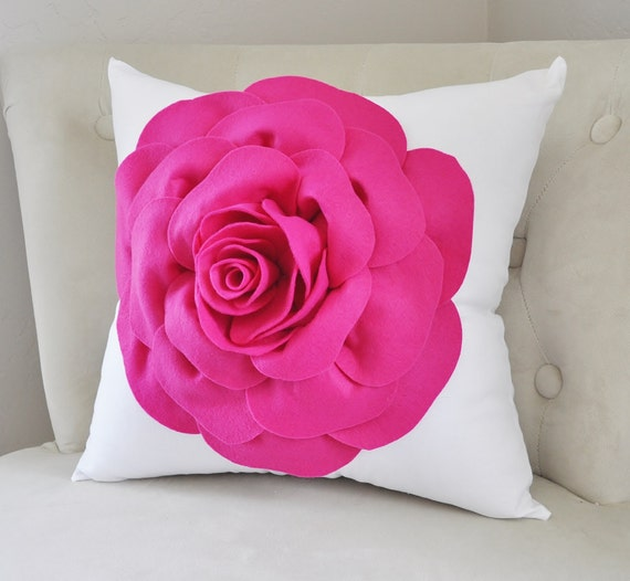 Throw Pillow, Rose Pillow, Home Decor, Decorative Pillow Cover, Hot Pink, Dorm Pillow Cover, Hot Pink Rose White Pillow girls Room Pillows