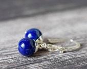 Modern Indigo Lapis Earrings Royal Blue Earrings Lapis Lazuli Earrings Dark Blue Natural Stone Sterling Silver Lapis Jewelry Gift for Women